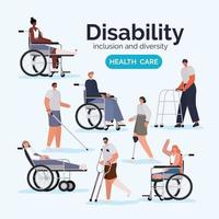 Set of people with disabilities vector