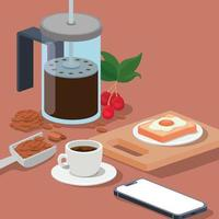 Prensa francesa de café, taza, teléfono inteligente, huevo, frijoles, bayas y hojas de diseño vectorial vector