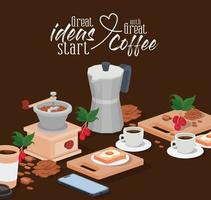 coffee moka pot, grinder, cups, smartphone, beans, berries, and leaves vector design