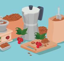 coffee moka pot, bag, grinder, beans, berries, and leaves vector design