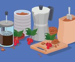 prensa francesa de café, tarro, olla moka y diseño de vectores de bolsa