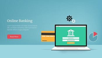 Landing page template of online banking concept vector illustration.