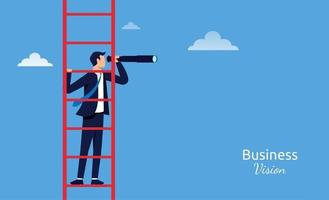 Businessman standing on ladder with telescope. Business vision vector illustration