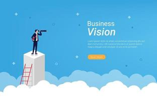 Landing page template of Business vision concept vector illustration.
