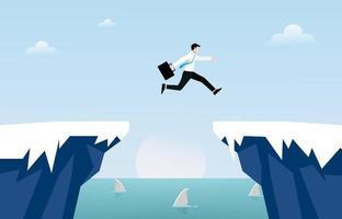 Businessman jump over cliff gap concept. Business symbol vector illustration
