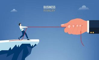Businessman and big hand pull the rope concept. Business rivalry symbol vector illustration