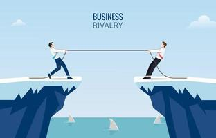 Two businessmen pull rope at edge of cliff concept. Business competition challenge vector illustration