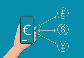 mano que sostiene el teléfono inteligente con el símbolo de moneda. Ilustración de vector de concepto de cambio de dinero