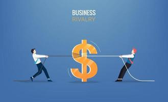 Businessmen pull the rope with money icon. Business rivalry vector illustration
