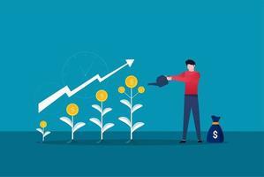 El empresario está regando el árbol del dinero. Ilustración de vector de crecimiento de beneficio financiero. retorno de la inversión con símbolo de flecha