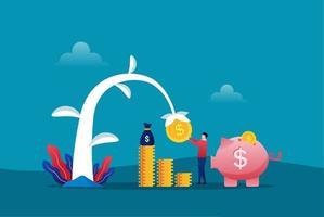 agricultor plantando un árbol del dinero y recogiendo dólares. crecimiento de las ganancias financieras e ilustración de vector de inversión inteligente. retorno de la inversión con el símbolo de la alcancía