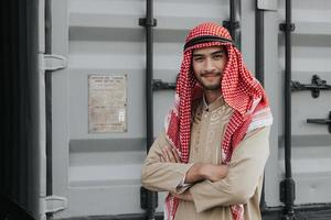 Man wearing a  keffiyeh photo