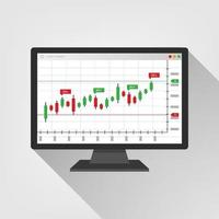Web Trading information on Computer screen. trend graphs report concept. statistic charts on web. Buy and sell indicators on the candlestick chart graphic design, vector illustration