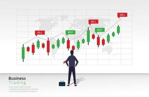 Trading strategy design concept. Investment strategies and online trading line art concept. Buy and sell indicators on the candlestick chart graphic design. Vector template illustration