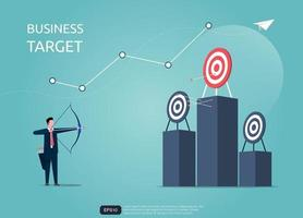 Businessman aiming the target with arrow. Focus on target vector illustration
