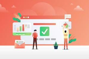 Data Analysis Vector Illustration Concept. man In front of the big screen for data analysis. Suitable for web landing page, ui, mobile app, editorial design, flyer, banner, and other related occasion