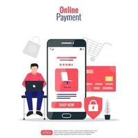 Online payment concept. Man sitting with his laptop and smartphone doing shopping via internet. Credit card and shield lock symbol for secure transaction. Vector illustration