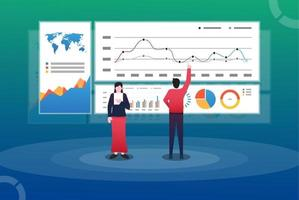 Data Analysis Concept. man and woman In front of the big screen for data analysis. Suitable for web landing page, ui, mobile app, editorial design, flyer, and banner. vector illustration