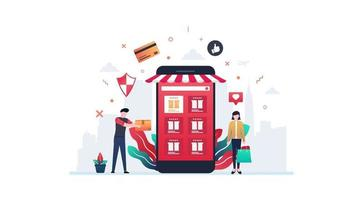 Online Shopping Vector Illustration Concept Showing customer receiving delivery from e-commerce website from smartphone, Suitable for landing page, ui, web, App, editorial, flyer, and banner.
