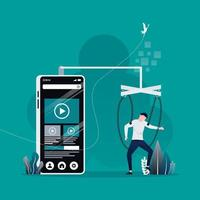 man found his body turn to be slave or puppet of big smart phone concept. social networks and video platform addiction metaphor. vector illustration