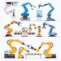 conjunto industrial de brazo robótico vector