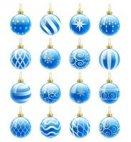 conjunto de bolas de navidad azul. ilustraciones vectoriales vector