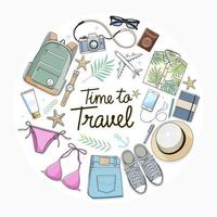 Time to travel concept. Travel objects flat lay drawing style vector illustration.