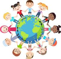 Kids love globe concept. Groups of children from all around the world join hands around the globe. Vector illustration.