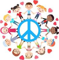 Kids love peace concept. Groups of children join hands all around the peace symbol. Vector illustration.