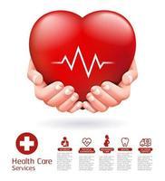dos manos y diseño conceptual de corazón rojo. Ilustración de vector de servicio de atención médica.