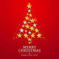 Feliz Navidad y feliz año nuevo tarjeta con fondo de estrella dorada y plateada. ilustraciones vectoriales. vector
