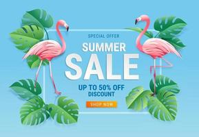 Summer sale card with two pink flamingos on tropical leaf paper cut background. Vector illustration