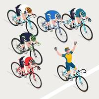Group of men cyclists road bicycle racing, and the winner. vector