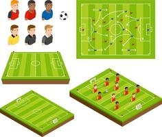 Soccer football field and soccer player isometric icons. Vector illustrations.