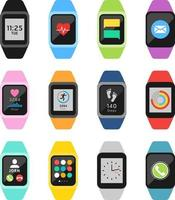 Fitness watches and trackers set. Vector illustrations.