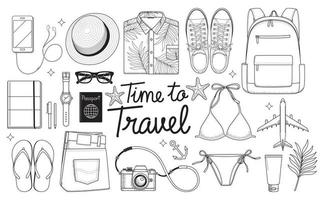 Time to travel concept. Travel objects flat lay drawing style vector illustration background.