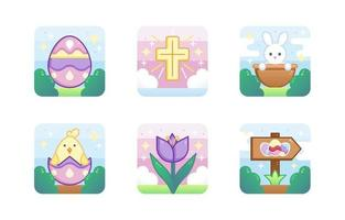 Cute Easter Icon Collection vector