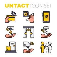 Untact Icon Collection in Flat Design vector
