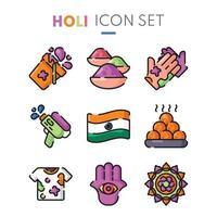 colección de iconos del festival holi en diseño plano vector