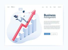 Business management website UI UX design. Businessman running on red arrow and infographic isometric elements. vector