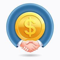 diseño conceptual de asociación empresarial. apretón de manos de la gente de negocios alrededor del fondo de la moneda de oro del dólar. vector