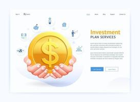 Business digital page website UI design. Hand Holding Gold Coin vector