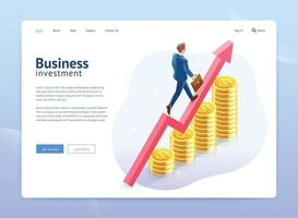 Isometric elements landing page with business man walking up red arrow over coin stacks. vector