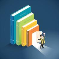 Graduate with diploma roll standing in front of door in books. Vector isometric illustration.