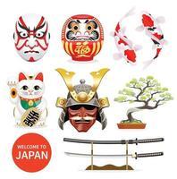Japan art culture elements icons. Vector Illustration.