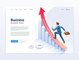 Business growth plan website UI UX design. Businessman running on red arrow and infographic isometric elements. vector