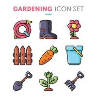 Gardening Icon Collection in Flat Design vector