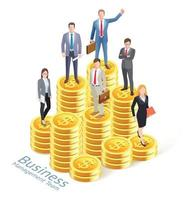 Business management concept background. Business people worker team with gold coin stacks. vector