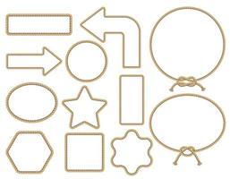 Brown rope frame set. Vector illustration.