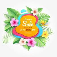 Summer sale card with hibiscus flowers on tropical leaf paper cut style background. Vector illustration